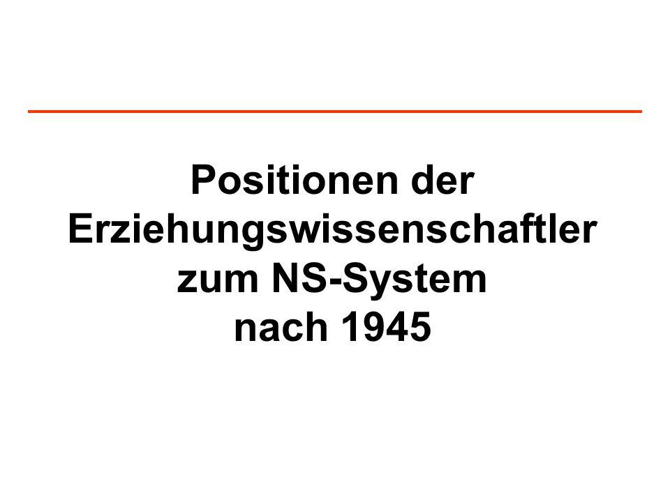 Positionen der Erziehungswissenschaftler zum NS-System nach 1945