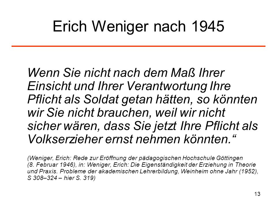 Erich Weniger nach 1945