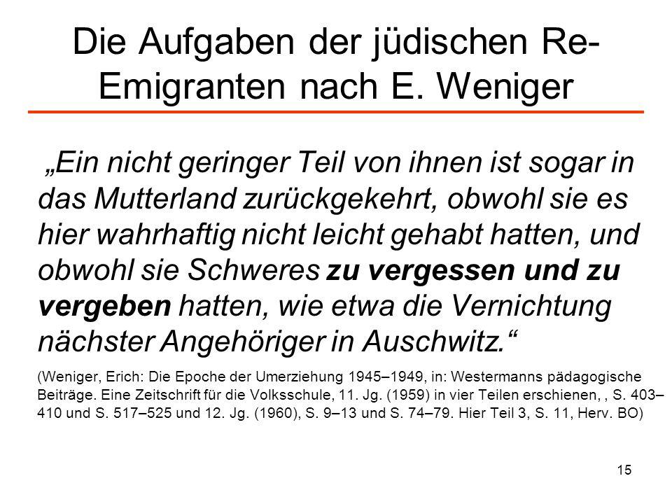 Die Aufgaben der jüdischen Re-Emigranten nach E. Weniger