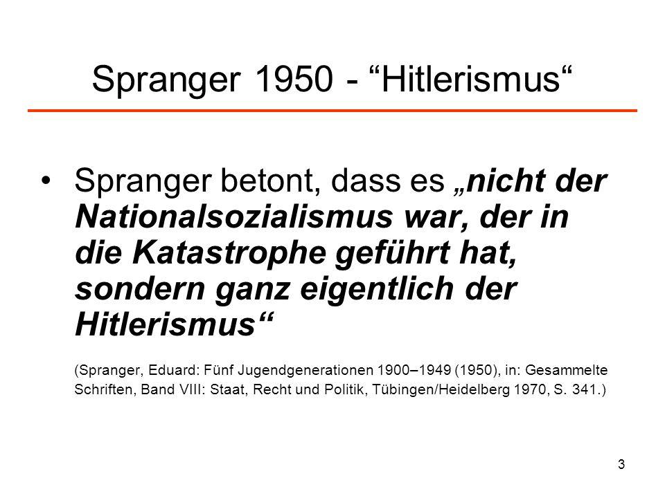 Spranger 1950 - Hitlerismus