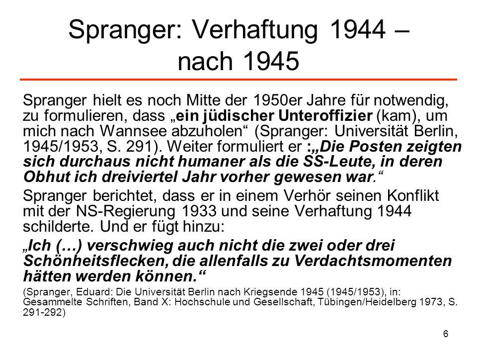 Spranger: Verhaftung 1944 – nach 1945