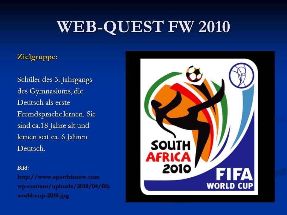 WEB-QUEST FW 2010 Zielgruppe: Schüler des 3. Jahrgangs