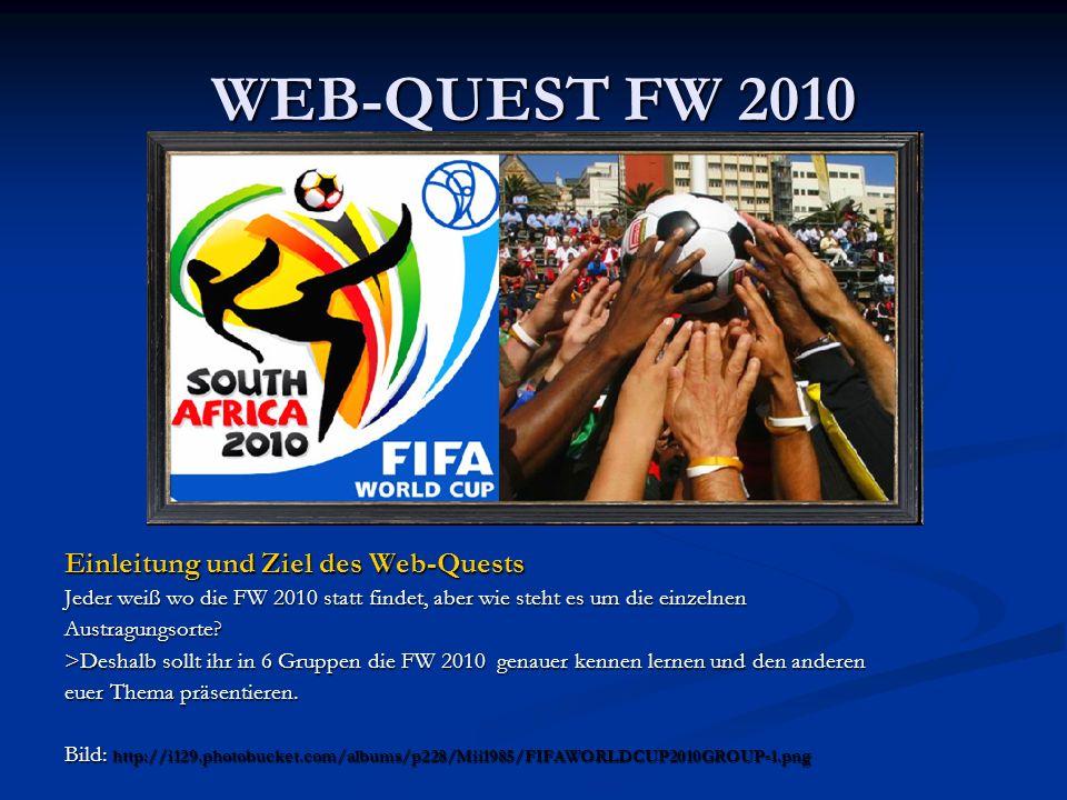 WEB-QUEST FW 2010 Einleitung und Ziel des Web-Quests