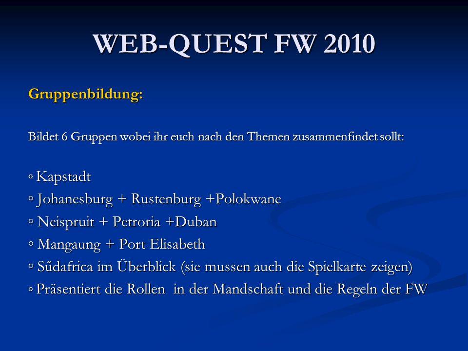 WEB-QUEST FW 2010 Gruppenbildung: