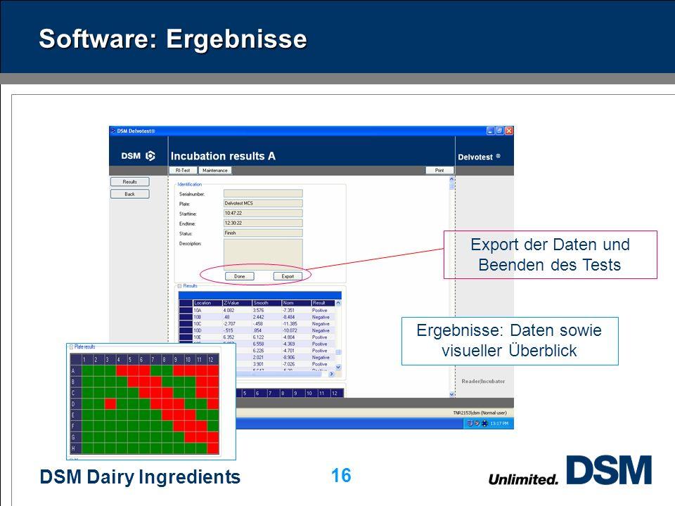 Software: Ergebnisse Export der Daten und Beenden des Tests