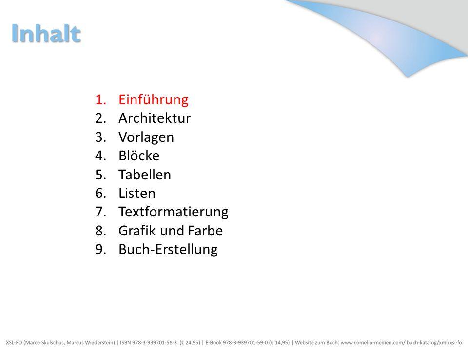 Inhalt Einführung Architektur Vorlagen Blöcke Tabellen Listen