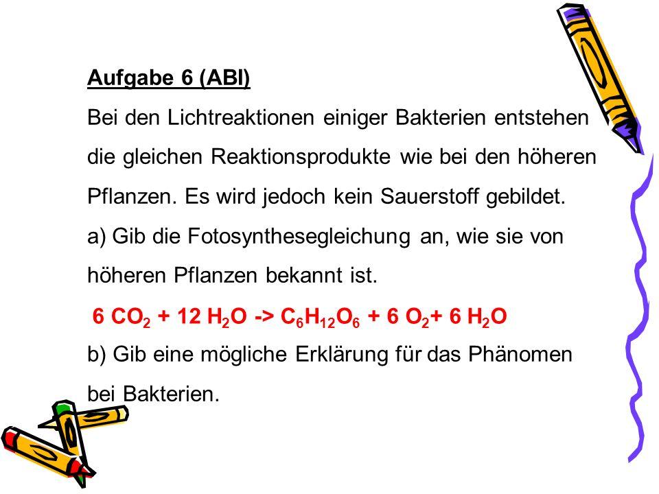 Aufgabe 6 (ABI) Bei den Lichtreaktionen einiger Bakterien entstehen. die gleichen Reaktionsprodukte wie bei den höheren.