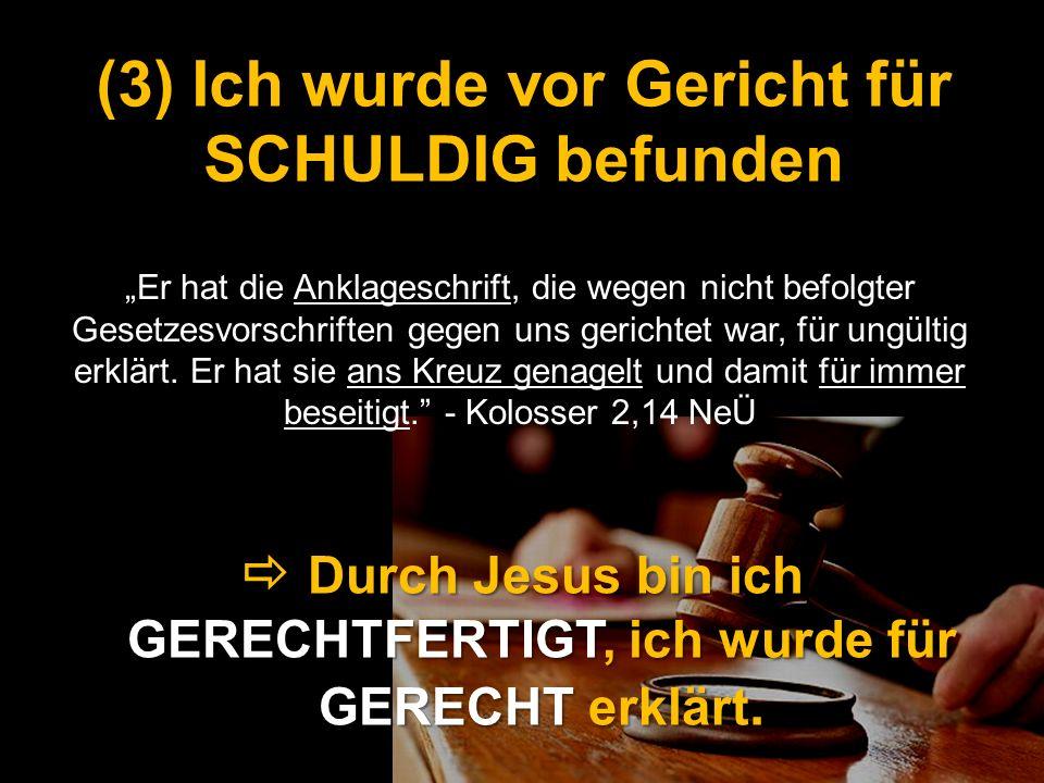 (3) Ich wurde vor Gericht für SCHULDIG befunden
