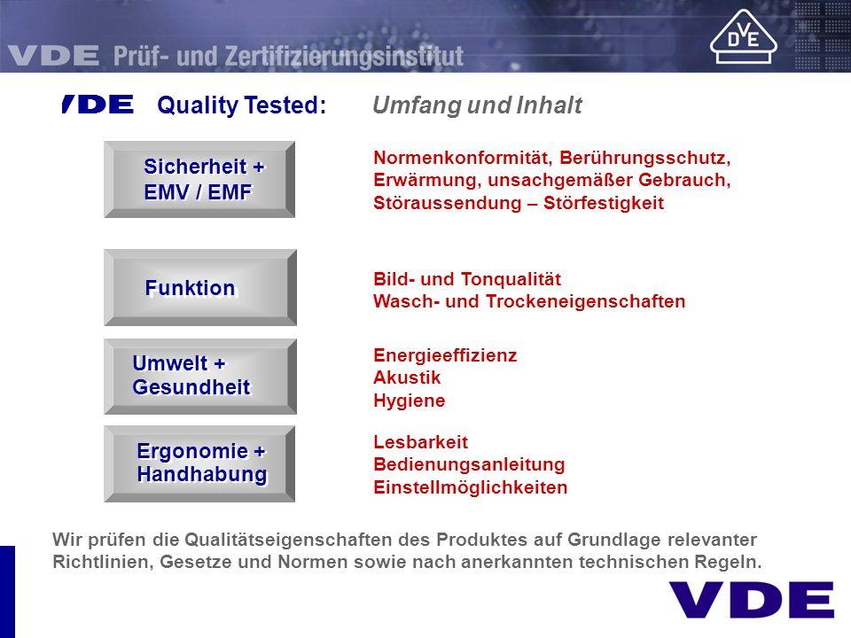 E Quality Tested: Umfang und Inhalt
