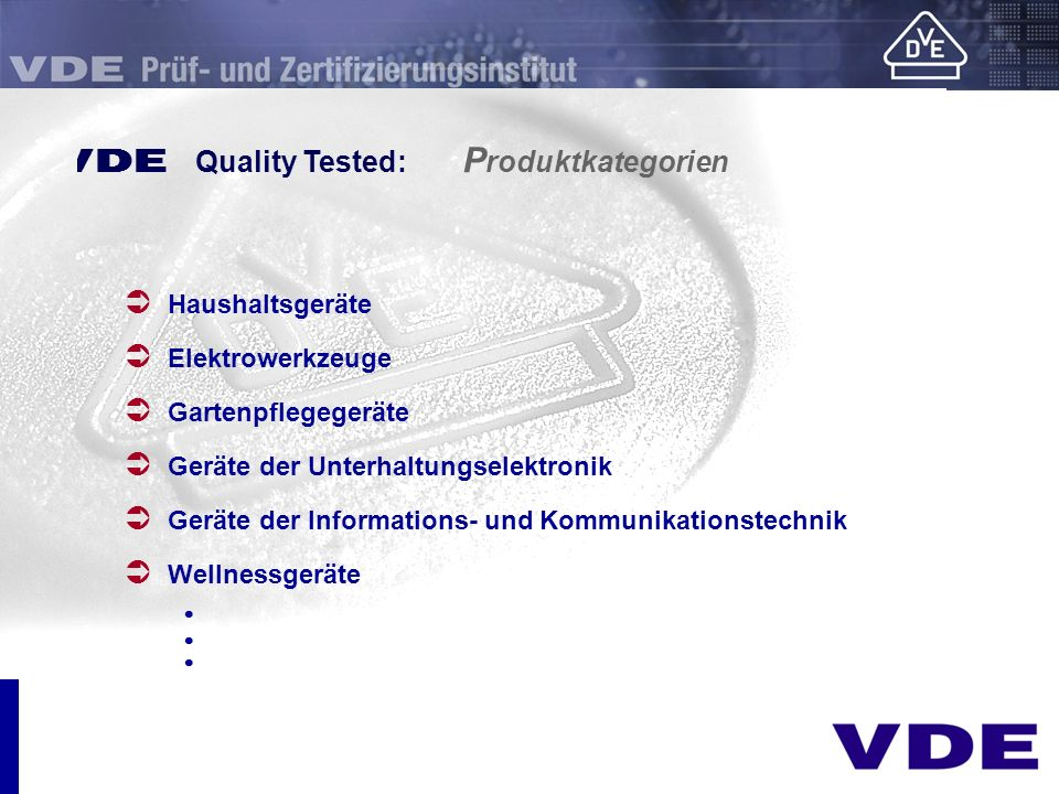 E Quality Tested: Produktkategorien