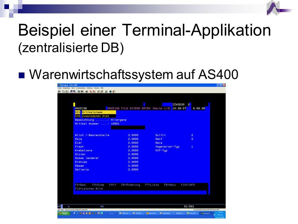 Beispiel einer Terminal-Applikation (zentralisierte DB)