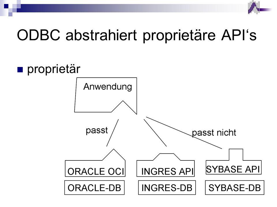 ODBC abstrahiert proprietäre API's