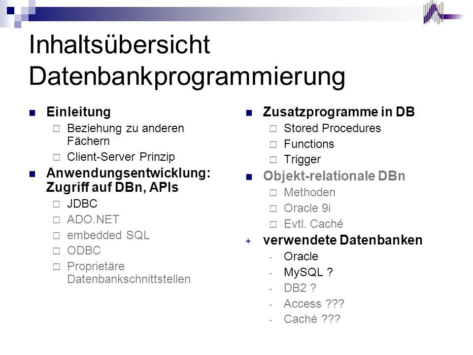 Inhaltsübersicht Datenbankprogrammierung