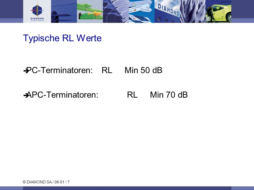 Typische RL Werte PC-Terminatoren: RL Min 50 dB