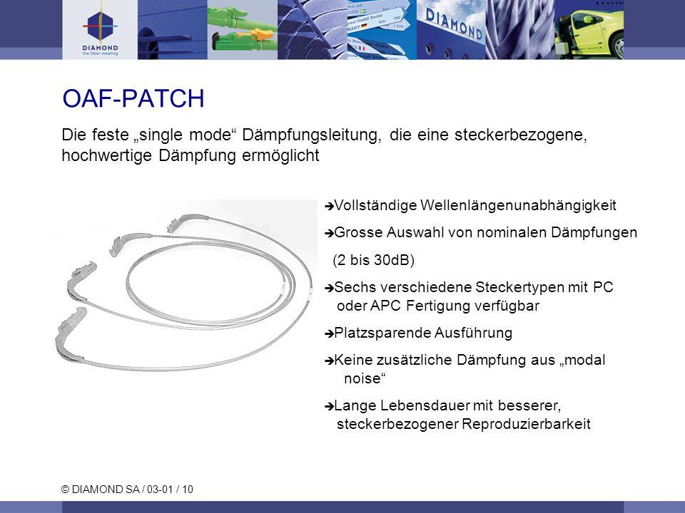 """OAF-PATCH Die feste """"single mode Dämpfungsleitung, die eine steckerbezogene, hochwertige Dämpfung ermöglicht."""