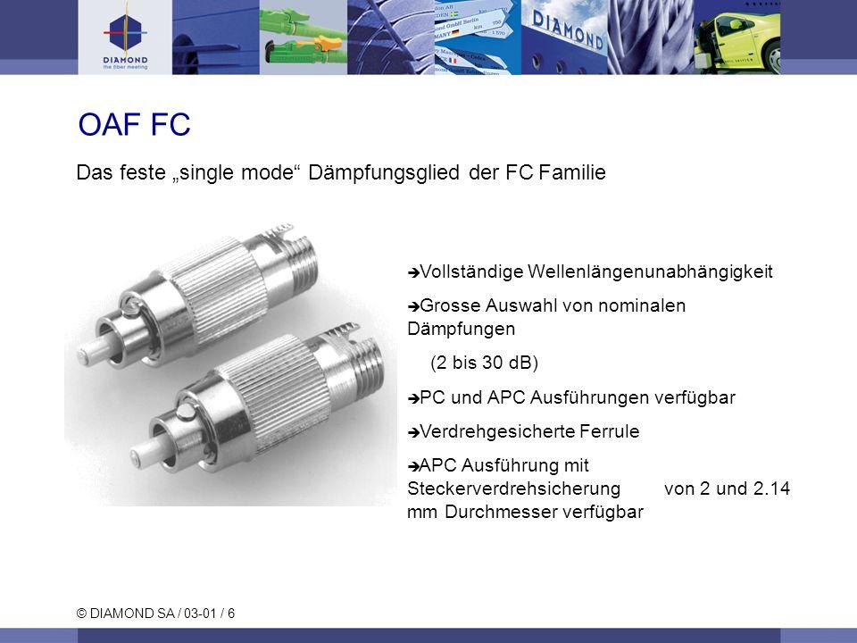 "OAF FC Das feste ""single mode Dämpfungsglied der FC Familie"