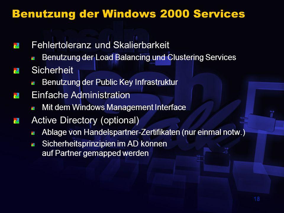 Benutzung der Windows 2000 Services
