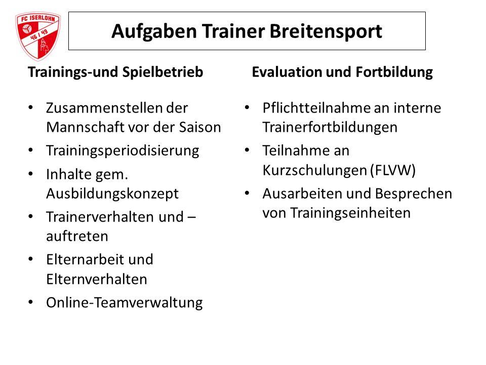 Aufgaben Trainer Breitensport