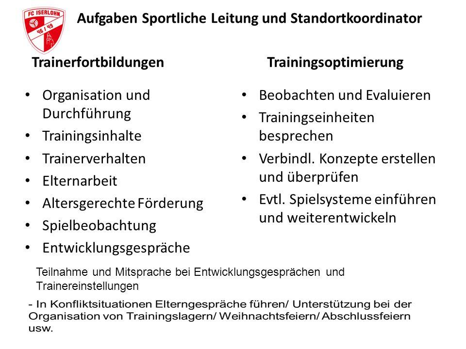 Aufgaben Sportliche Leitung und Standortkoordinator