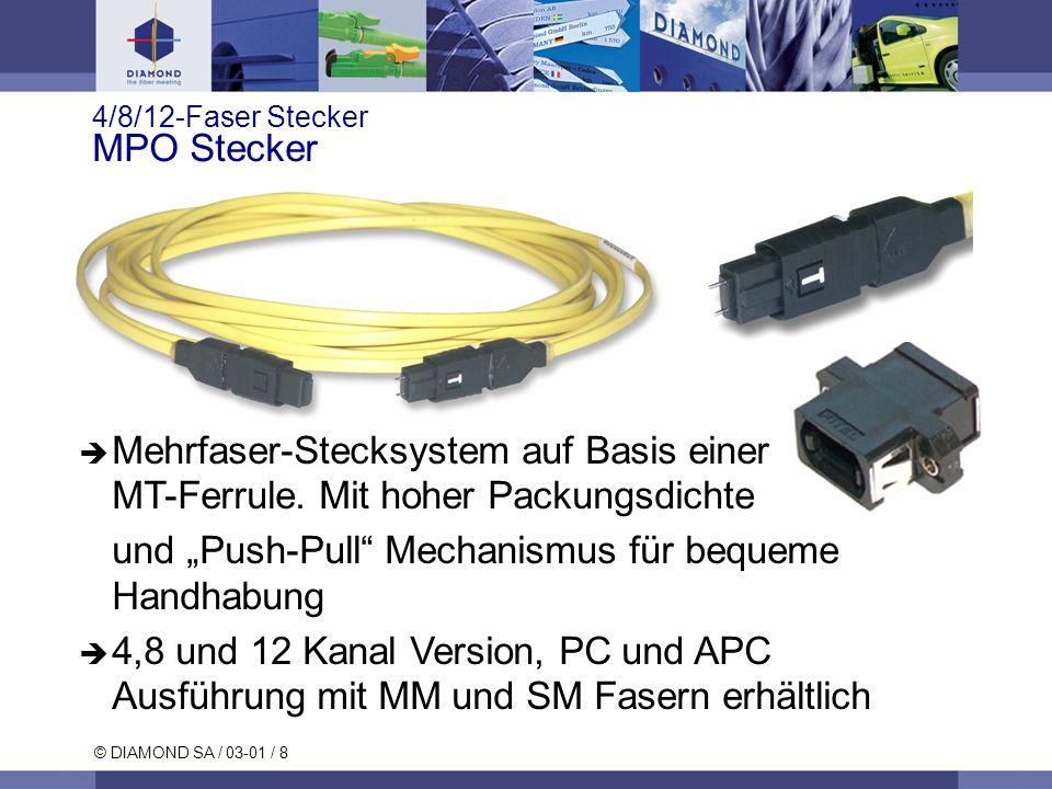 4/8/12-Faser Stecker MPO Stecker