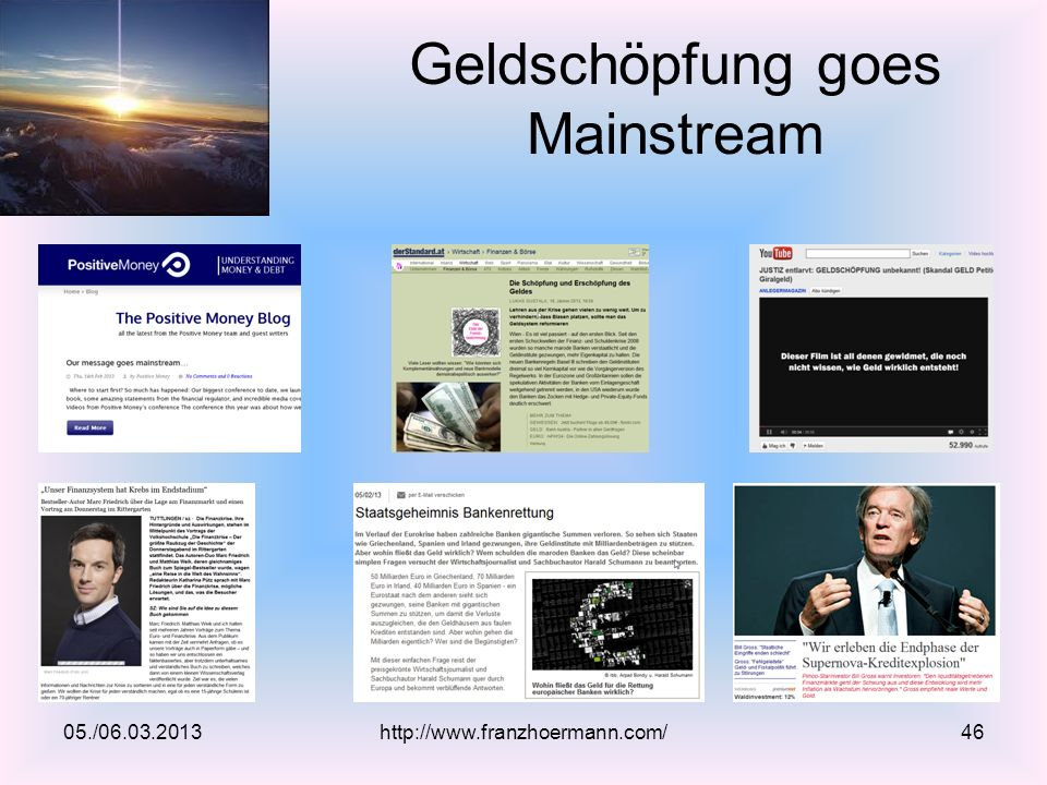 Geldschöpfung goes Mainstream