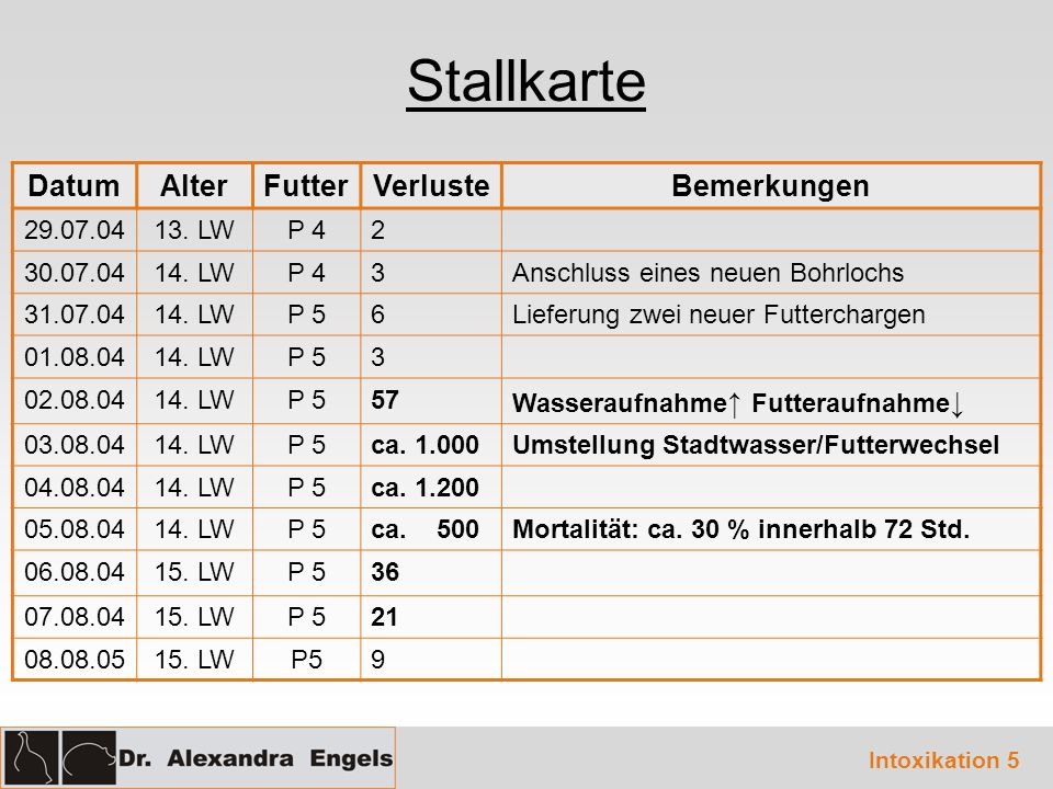 Stallkarte Datum Alter Futter Verluste Bemerkungen 29.07.04 13. LW P 4