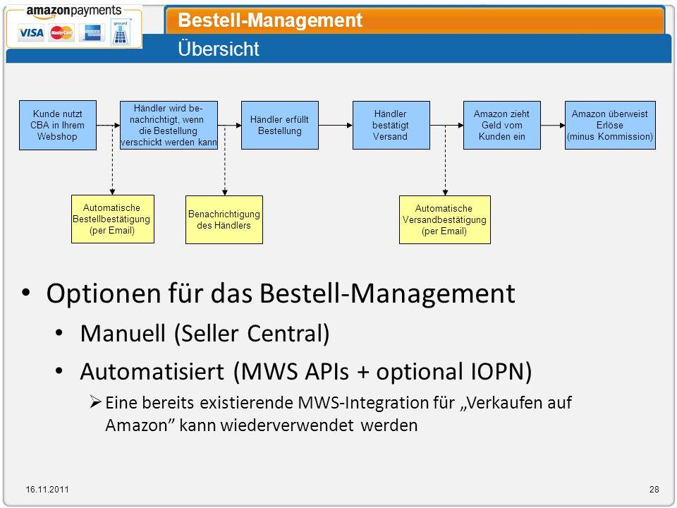 Optionen für das Bestell-Management