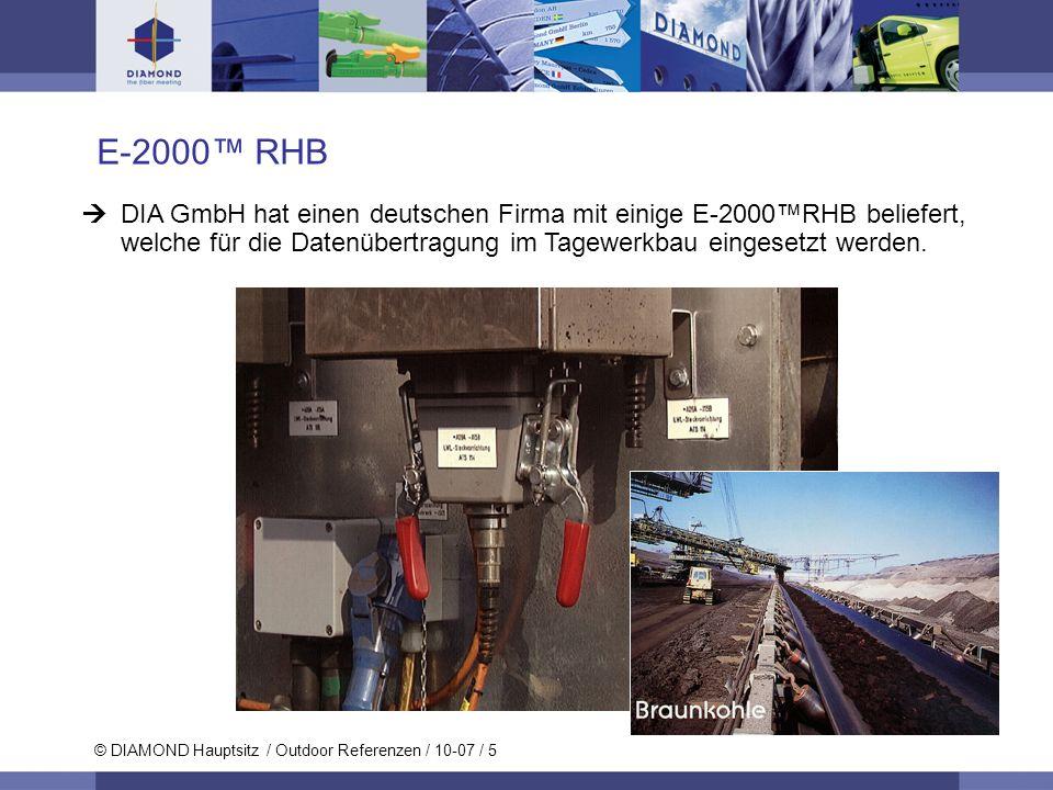 E-2000™ RHB DIA GmbH hat einen deutschen Firma mit einige E-2000™RHB beliefert, welche für die Datenübertragung im Tagewerkbau eingesetzt werden.
