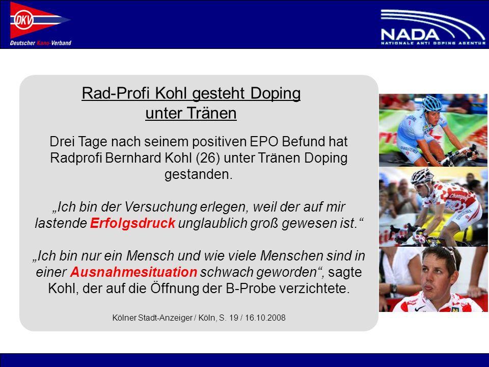 Rad-Profi Kohl gesteht Doping unter Tränen