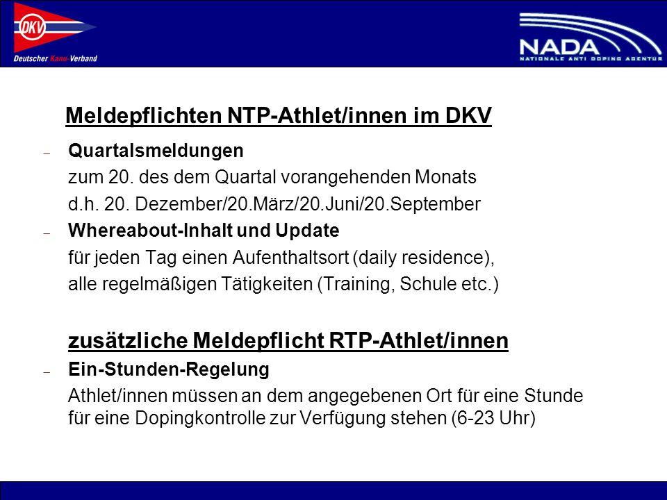 Meldepflichten NTP-Athlet/innen im DKV