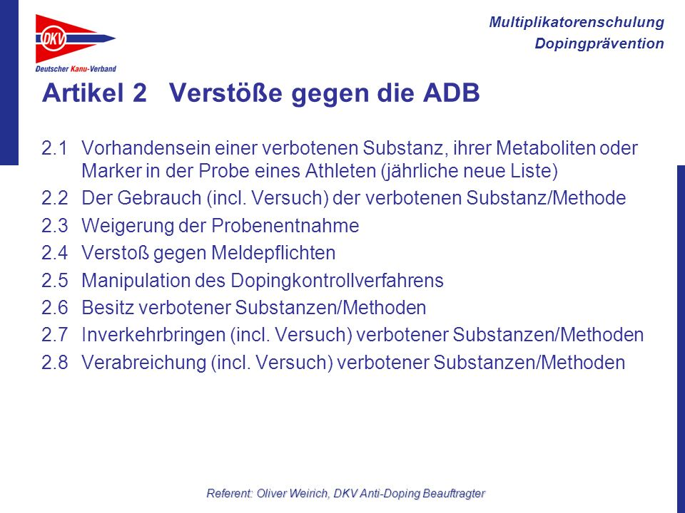 Artikel 2 Verstöße gegen die ADB