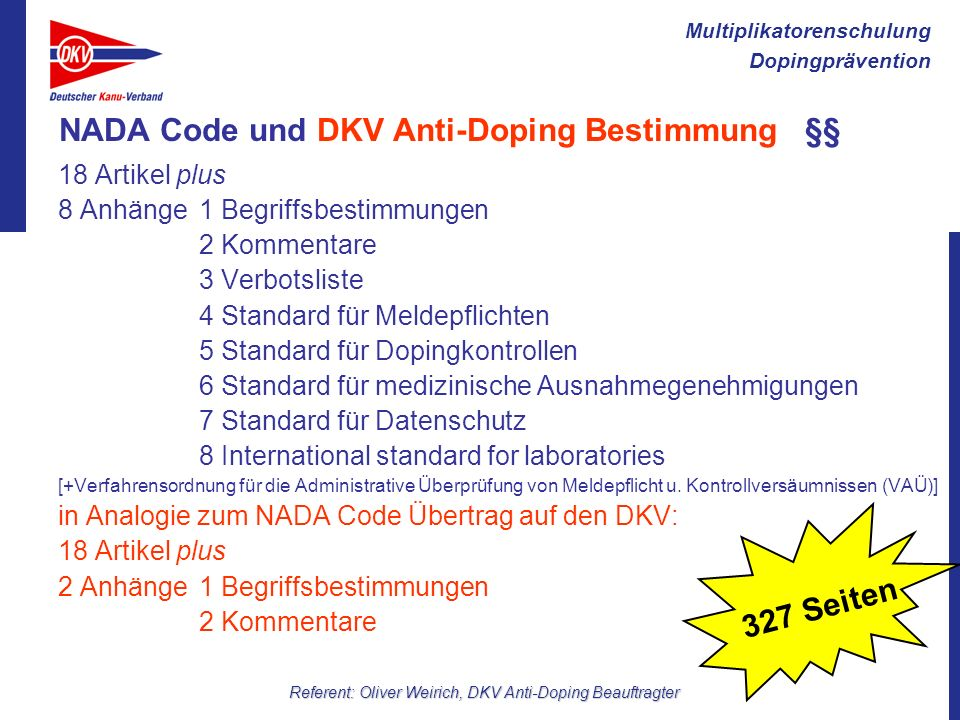 NADA Code und DKV Anti-Doping Bestimmung §§
