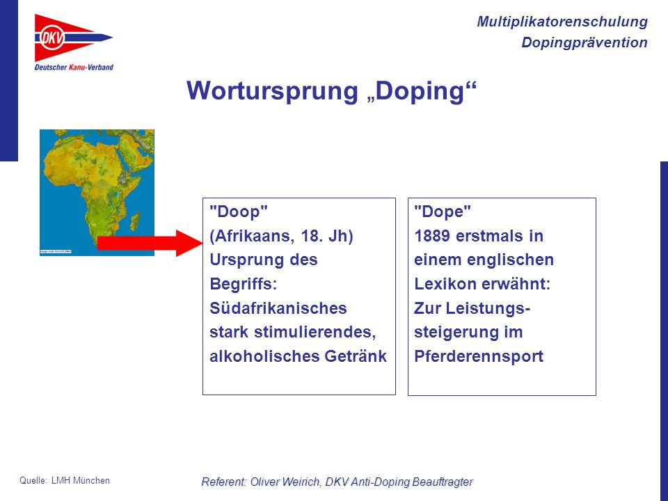 "Wortursprung ""Doping"