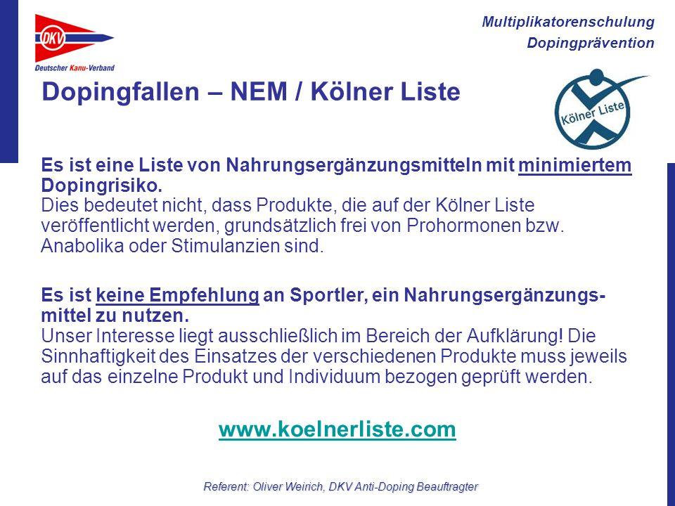 Dopingfallen – NEM / Kölner Liste