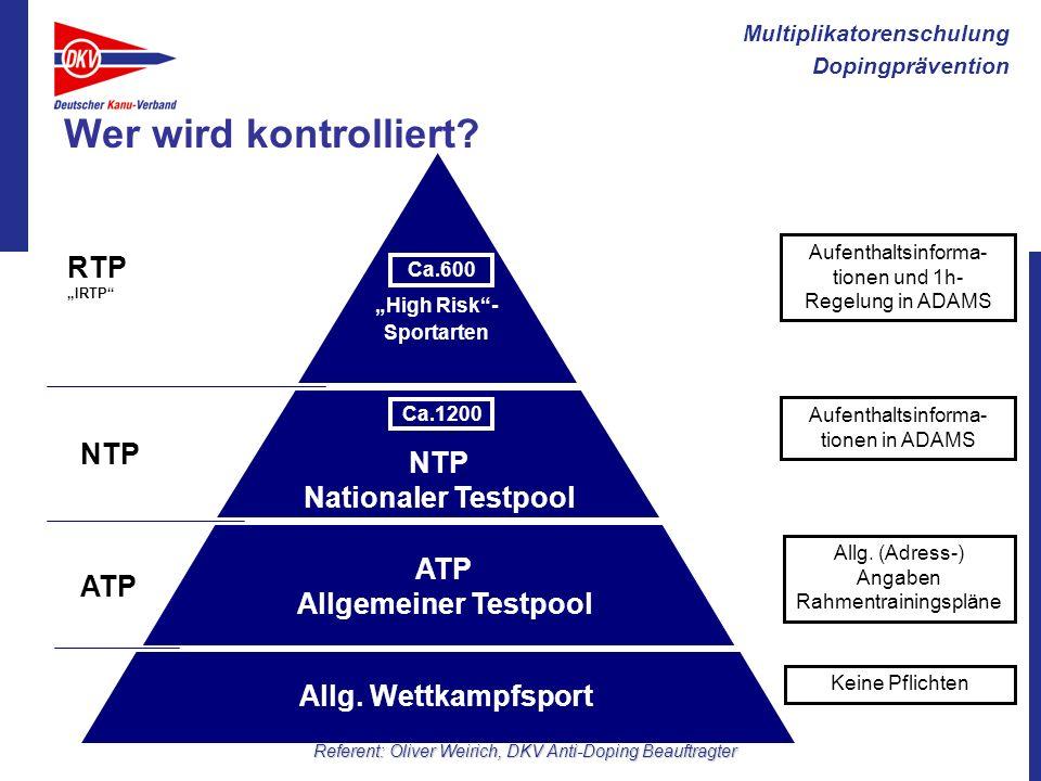 Wer wird kontrolliert RTP NTP NTP Nationaler Testpool ATP ATP