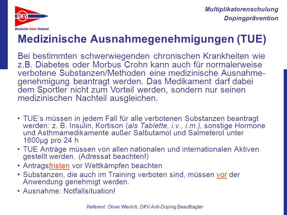 Medizinische Ausnahmegenehmigungen (TUE)