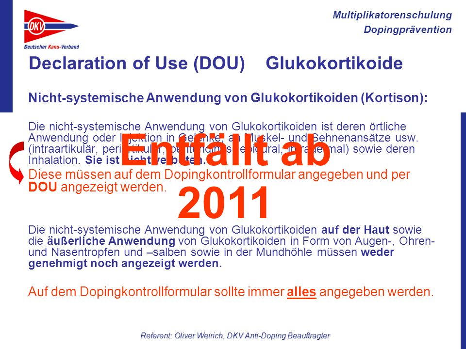Declaration of Use (DOU) Glukokortikoide