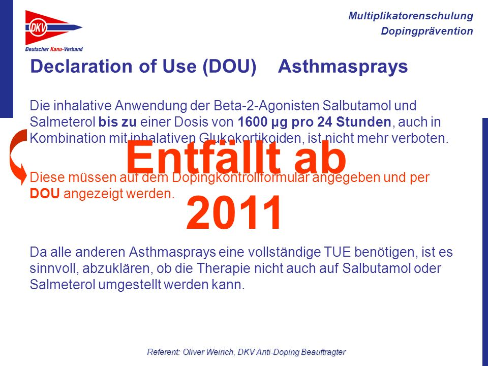 Declaration of Use (DOU) Asthmasprays