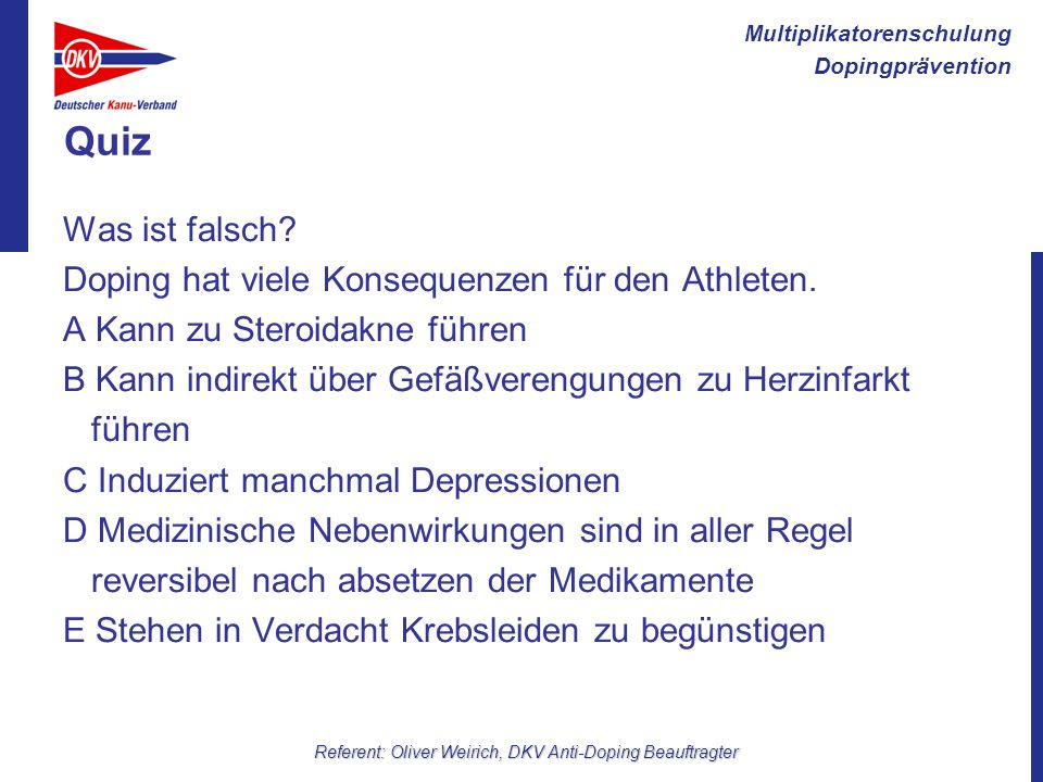 Referent: Oliver Weirich, DKV Anti-Doping Beauftragter