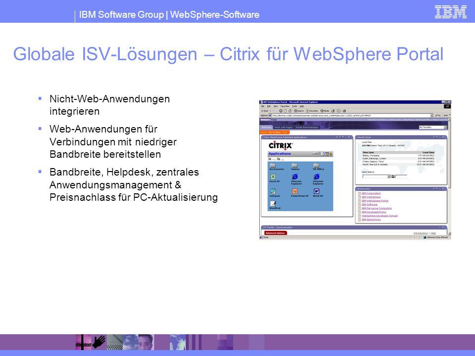 Globale ISV-Lösungen – Citrix für WebSphere Portal