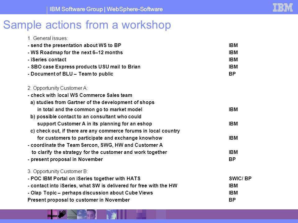 Sample actions from a workshop