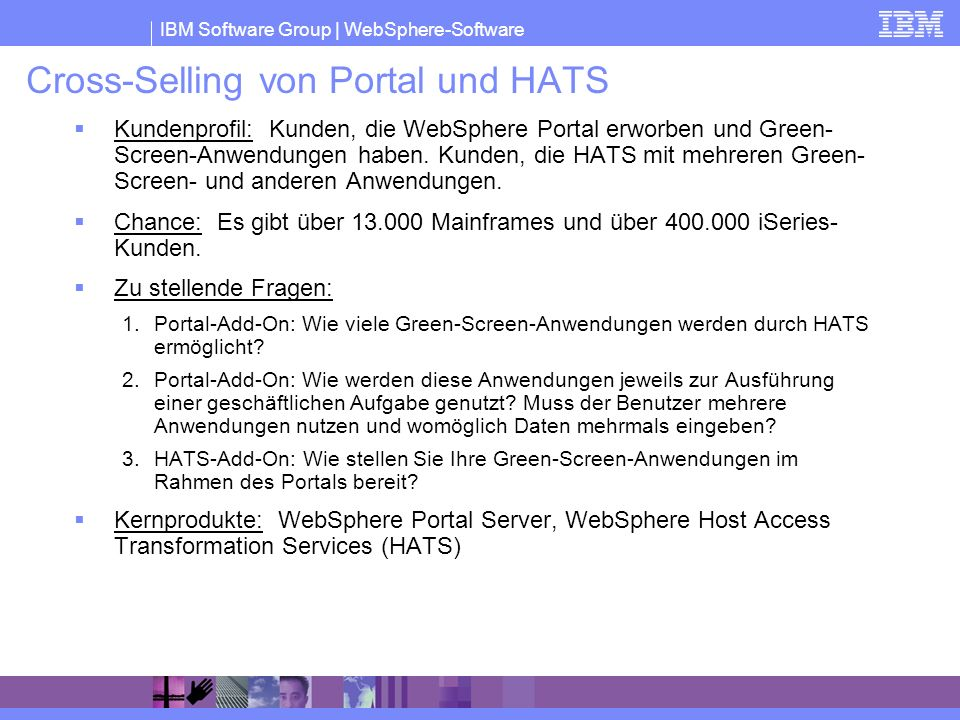 Cross-Selling von Portal und HATS