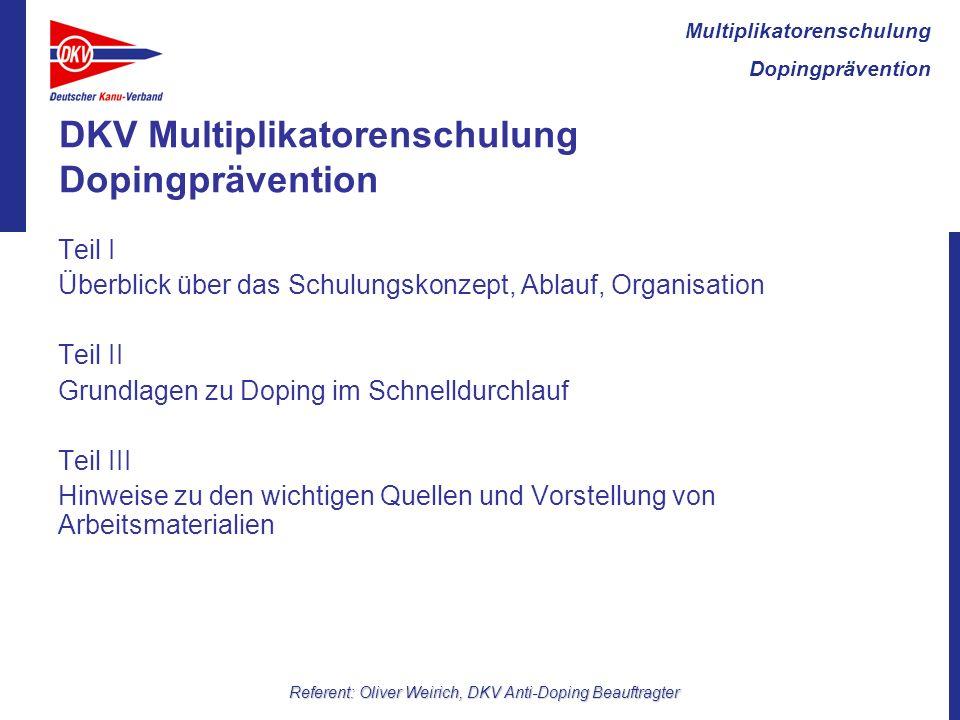 DKV Multiplikatorenschulung Dopingprävention
