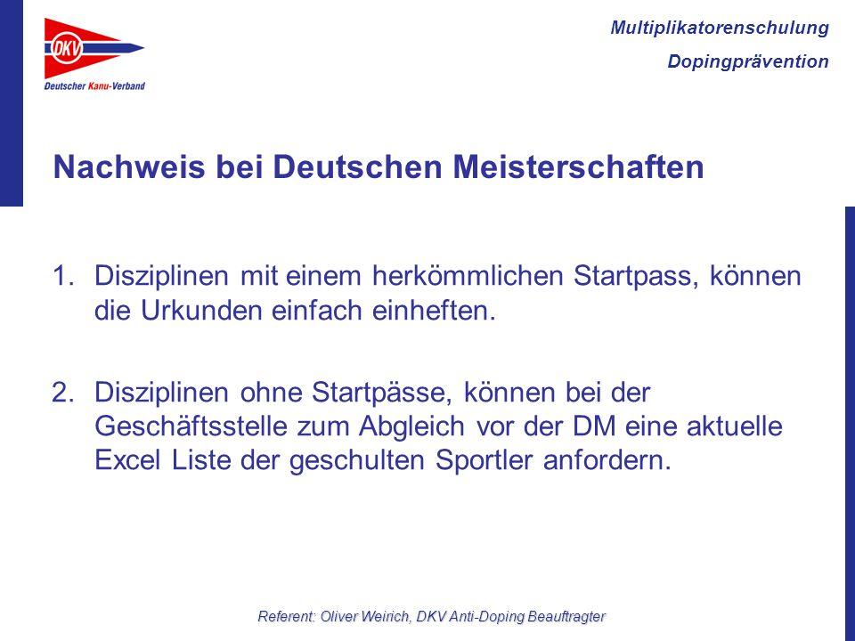 Nachweis bei Deutschen Meisterschaften