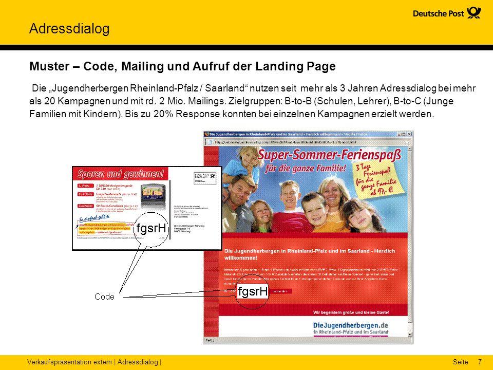 Muster – Code, Mailing und Aufruf der Landing Page