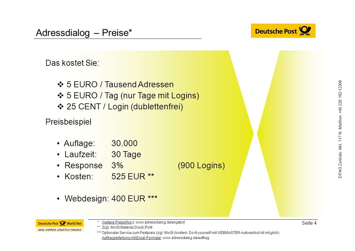 Adressdialog – Preise*
