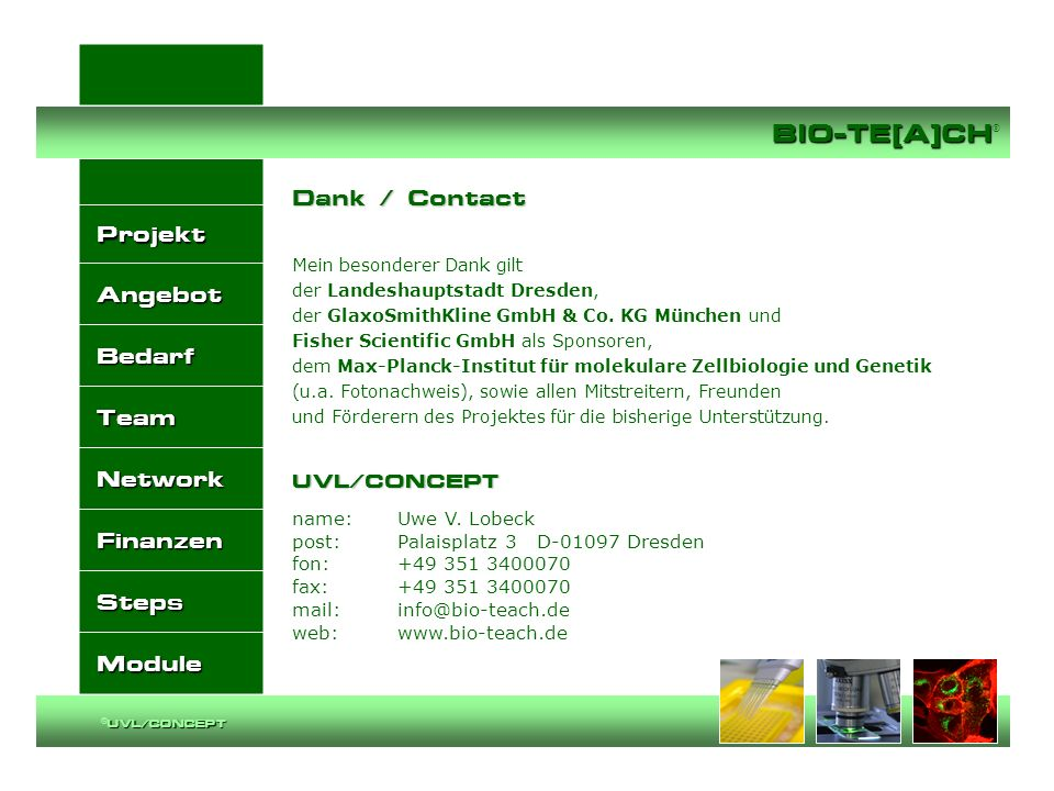 Dank / Contact UVL/CONCEPT