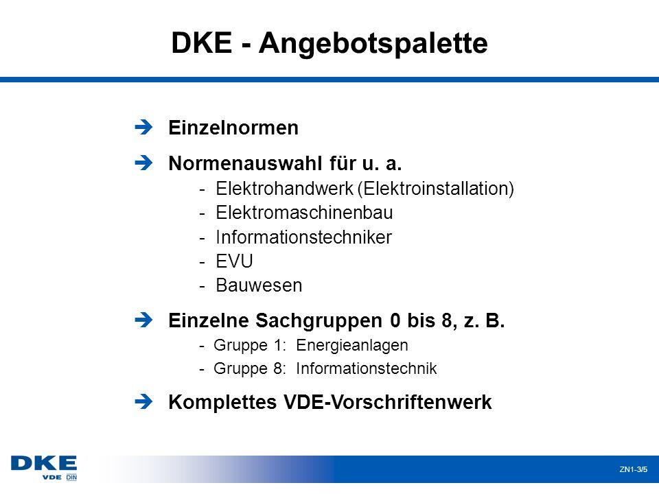 DKE - Angebotspalette Einzelnormen Normenauswahl für u. a.