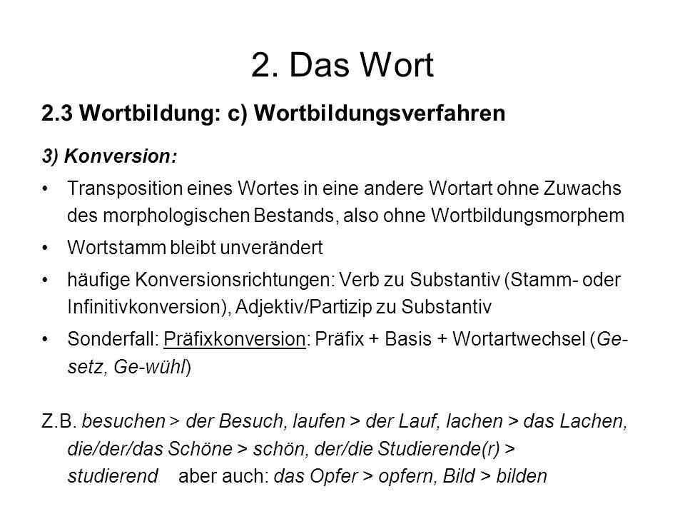 2. Das Wort 2.3 Wortbildung: c) Wortbildungsverfahren 3) Konversion: