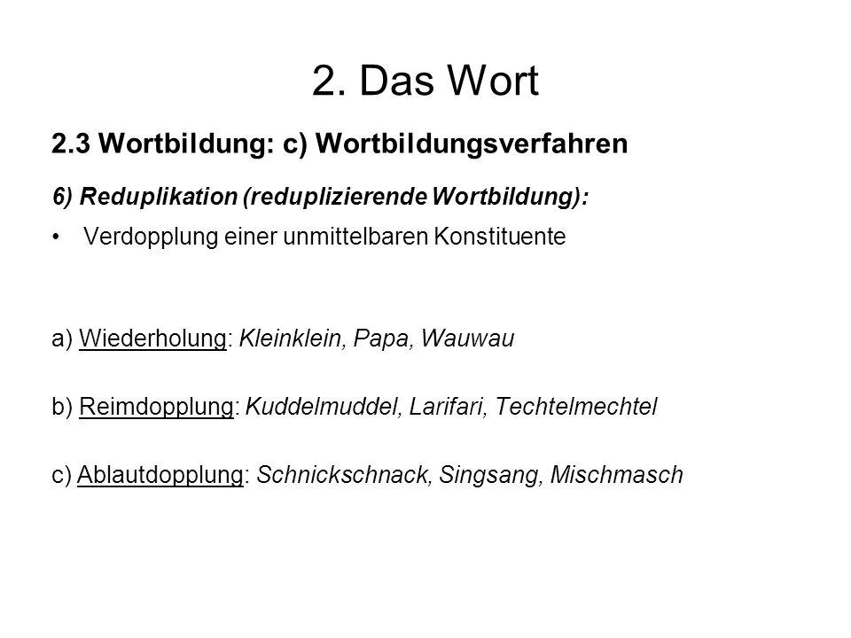 2. Das Wort 2.3 Wortbildung: c) Wortbildungsverfahren